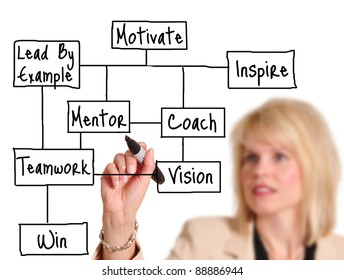 Female executive drawing business concept on a whiteboard.