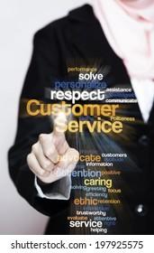 "Female Executive press virtual Screen-""Customer Service word cloud arrangement"""