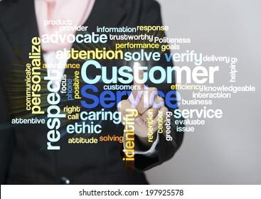 "Female Executive press virtual Screen-""Customer Service"" word cloud arrangement"""