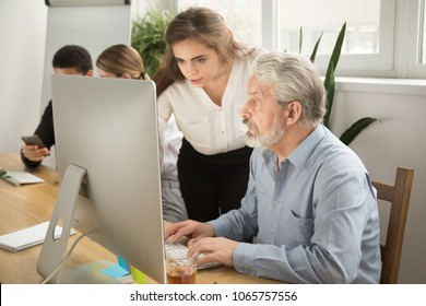 Female executive teaching senior colleague explaining computer work, corporate teacher helping focused aged manager with online task, young woman boss giving instructions to old employee at workplace