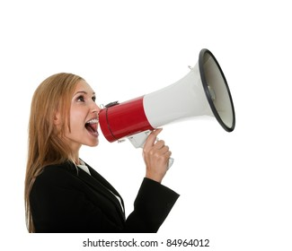 Female executive yelling through a megaphone