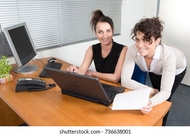 Female executives working together on new project. Creative team using laptop for information in office.