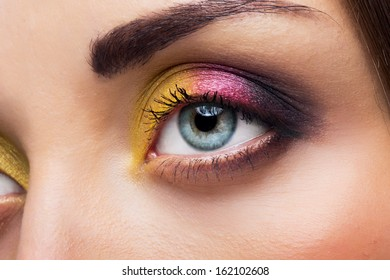 Female eye with bright make-up
