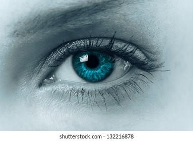 female eye closeup in blue tone