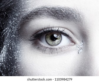 Female eye. Closeup macro beauty portrait of young woman face.