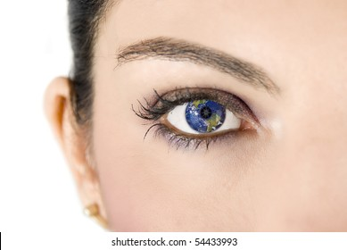 Female eye with earth image on white background