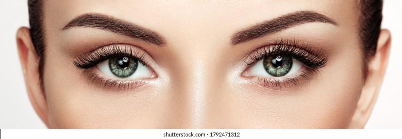 Female Eye with Extreme Long False Eyelashes. Eyelash Extensions. Makeup, Cosmetics, Beauty. Close up, Macro - Shutterstock ID 1792471312