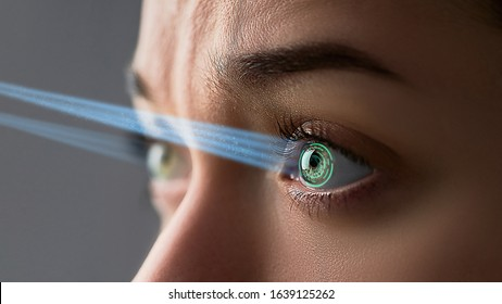 Female eye iris with smart contact lens with digital and biometric implants to scan the ocular retina close up. Future concept and high tech technology for scanning face id