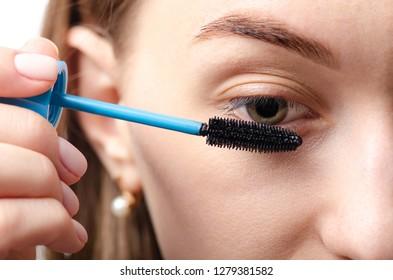 Female eye natural brush mascara beauty macro