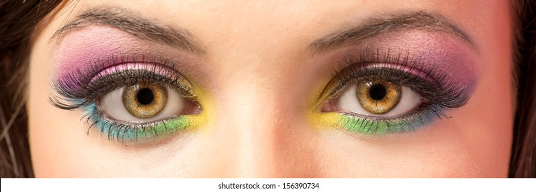 Female eyes with colorful eye-shadows