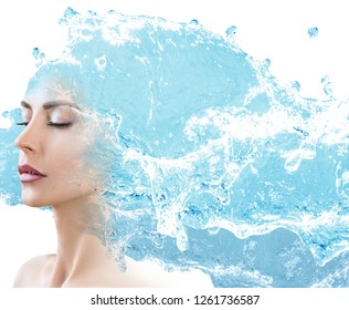 Female face appears from blue water splash. Isolated on white background.