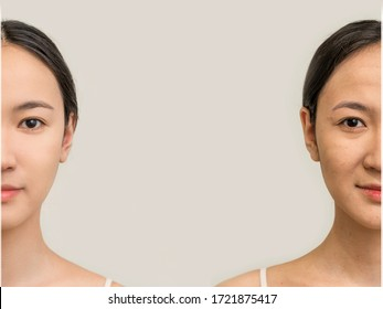 female face of an Asian woman, the concept of beauty before and after. skin care, the extension of youth. women's cosmetology. two halves of the face old and young on a white background copy space
