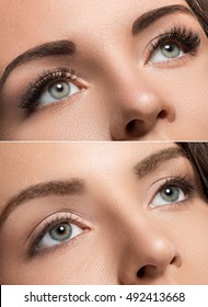 Female face comparison after eyelash extension and eyebrow correction