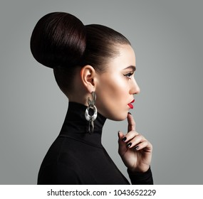 Female Face. Healthy Woman Face Close Up, Profile