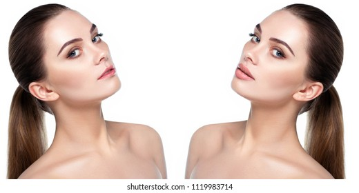 Female face, present before and after lips filler injections. Lip augmentation. Thin ugly lips before injections procedure and beautiful perfect lips after the procedure augmentation.