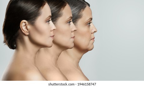 Female face representing aging concept. Comparison of young, middle aged and elderly age.