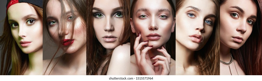 female faces. collage of beautiful women. beautiful teen girls with make-up