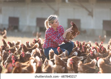female farmer on poultry farm
