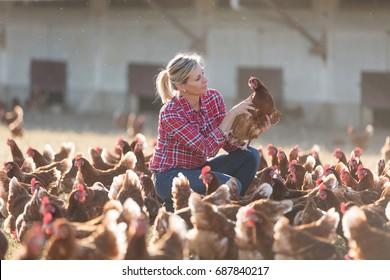 female farmer on poultry farm