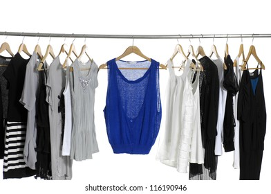 female fashion clothing on hangers at the show