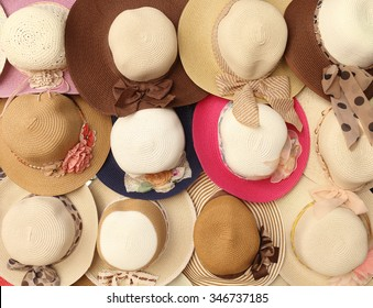 Female Fashion hats on market stall
