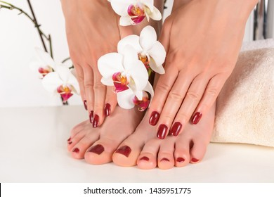 Female feet and hands with dark red polish color manicure and pedicure on a towel in the beauty salon and decorative orchid flower. Close up, selective focus