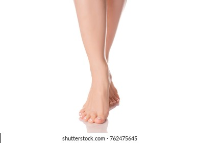 Female feet heel beauty medecine on a white background isolation