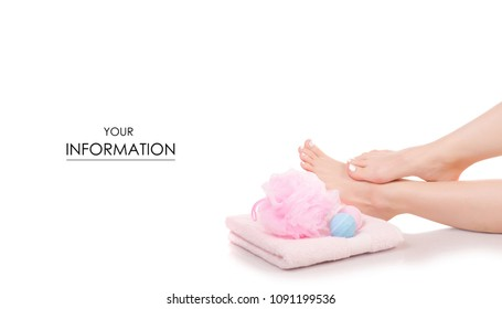 Female feet legs towel bath sponge bubble bath beauty spa pattern on white background isolation
