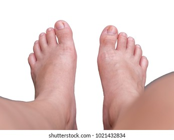 Female feet on white background. isolated