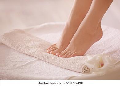 Female feet in spa salon, closeup