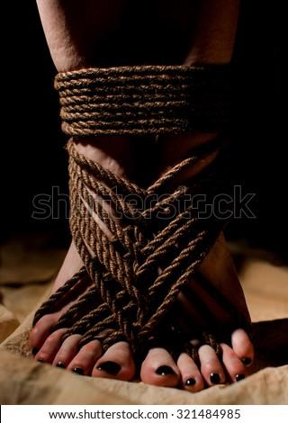 Barefoot japanese bondage