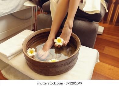 Female feet treatment in spa salon