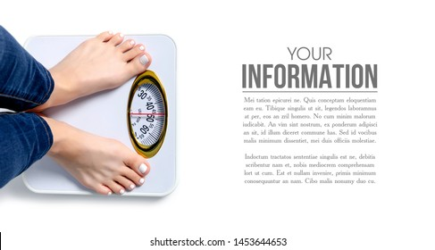 Female feet weighing scale pattern on a white background isolation