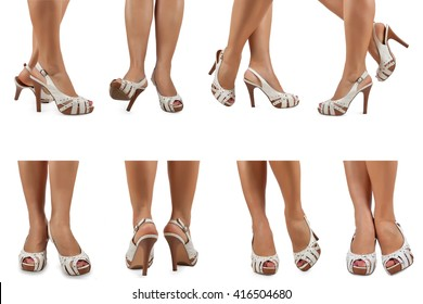 Female feet in white sandals with high heels in various poses