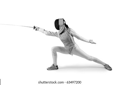 Female fencer isolated on white (black and white photo)