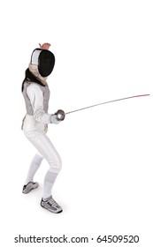 Female fencer isolated on white