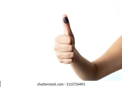 female finger marked after vote