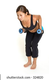 A female fitness instructor demonstrates the finishing position of bent over dumbbell rows
