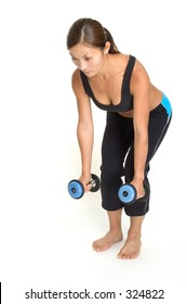 A female fitness instructor demonstrates the starting position for bent over dumbbell rows