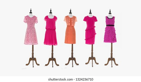 female five different sundress clothes on full Mannequins on white background