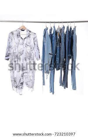 cc4e890cf3c Female Floral Dress Shorts Jeans Mix Stock Photo (Edit Now ...