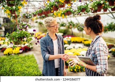 Female florist dressed in apron with tablet in hands shaking hands with customer while standing in greenhouse.