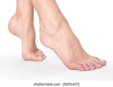 .Female foot Health concept.isolated on white