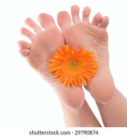 Female a foot keep an orange flower