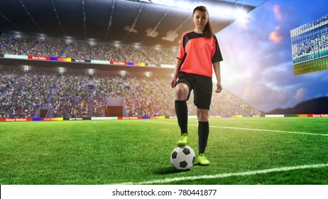 female football player in red uniform on soccer field