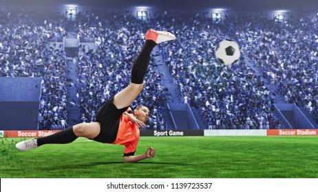female football player taking overhead kick on a crowded stadium