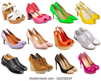 Female footwear collection on white background