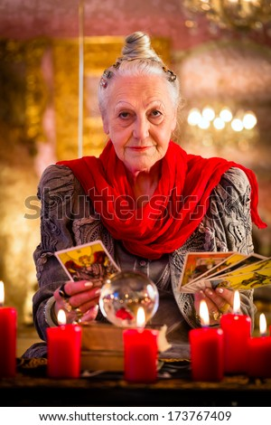 Female Fortuneteller Esoteric Oracle Sees Future Stock Photo (Edit