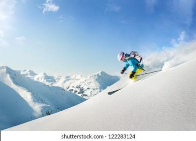 Female freeride skier