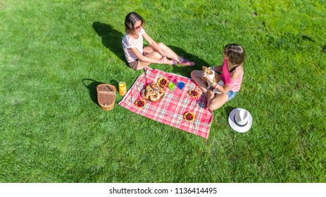Female friends with dog having picnic in park, girls sitting on grass and eating healthy meals outdoors, aerial view from above